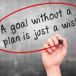 "Man Hand writing ""A goal without a plan is just a wish"" black marker on visual screen. Business, technology, internet concept."