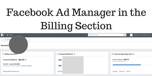 Facebook Ad Manager in the Billing Section