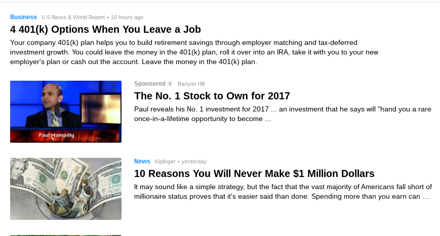 Native ad in Yahoo Finance